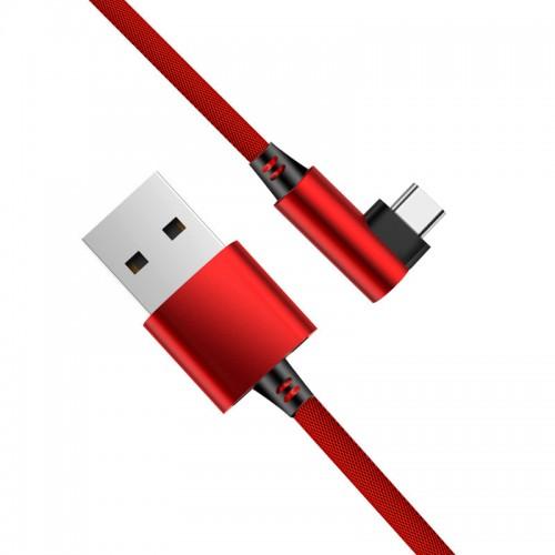 Câble USB C Coude - Rouge