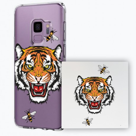 PACK PowerBank 2600MAH + Coque rigide transparente Samsung Galaxy S9 - Tigre