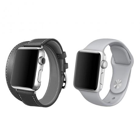 Bracelet cuir lisse double tours GRIS & bracelet silicone GRIS SOURIS - Apple Watch 42/ 44 mm
