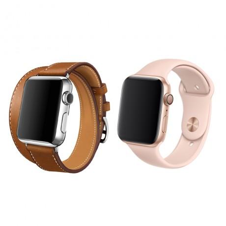 Bracelet cuir lisse double tours CAMEL & bracelet silicone ROSE NUDE - Apple Watch 42/ 44 mm