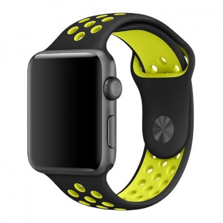 Bracelet en silicone perforé NOIR & VERT CITRON - Apple Watch 42/ 44 mm
