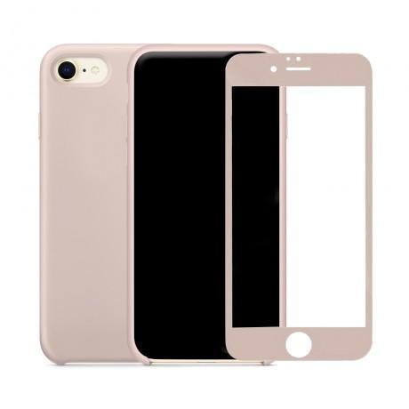 Coque  silicone avec interieur microfibre + vitre verre trempé pour iPhone 7/8 - NUDE