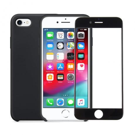 Coque  silicone avec interieur microfibre + vitre verre trempé pour iPhone 7/8 - NOIR