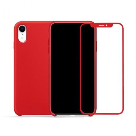 Coque  silicone avec interieur microfibre + vitre verre trempé pour iPhone XR - ROUGE