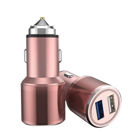 Chargeur allume cigare double USB - Rose or