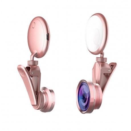 Selfie flash LED réglable avec objectifs - Rose or