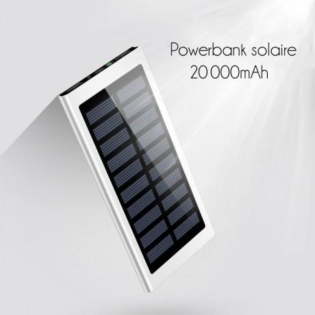 Batterie de secours solaire métal 20 000 mAh - Argent