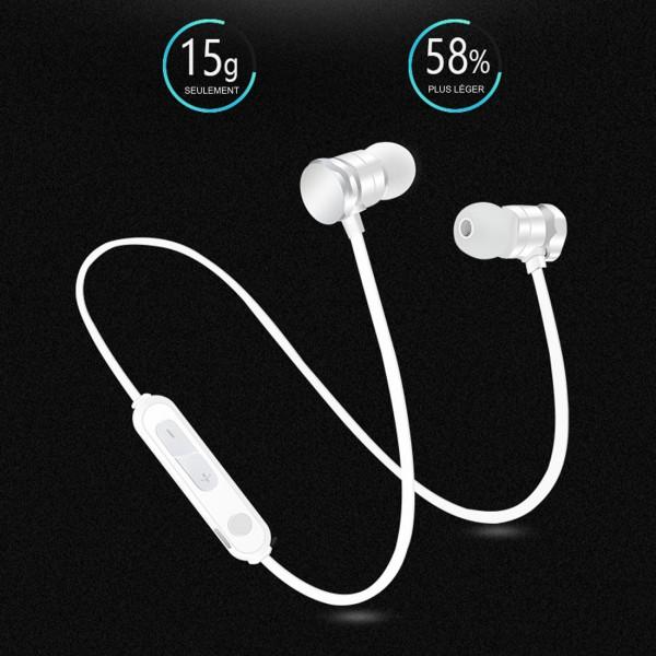 Ecouteurs Bluetooth avec micro integré Blanc