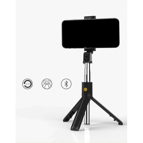 Mini perche à selfie Bluetooth rotative 270° avec trépied intégré - Noir