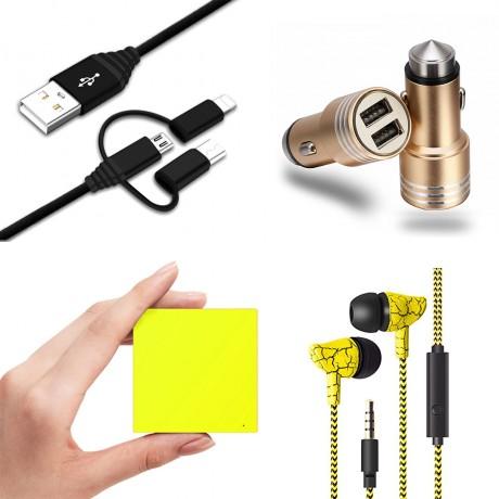 Pack universel essentiel : Power Bank 2600 mAh/ écouteurs filaires marbre/ chargeur allume cigare 1A/ câble USB coudé - JAUNE