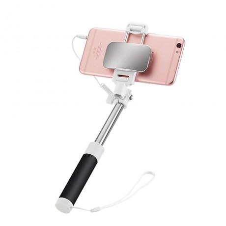 Perche à selfie filaire rétractable avec miroir intégré - Noir