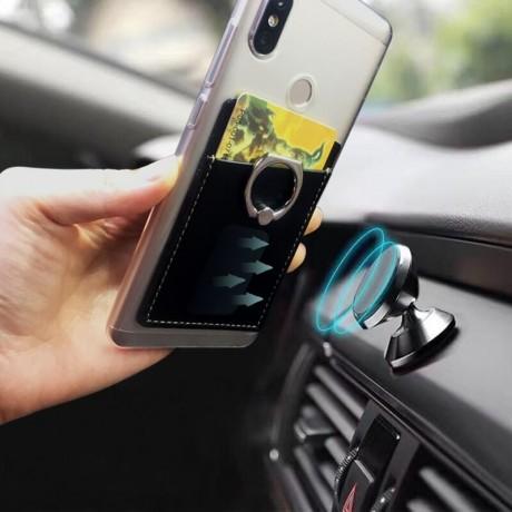 Porte carte pour mobile avec support anneau et système d'aimant puissant