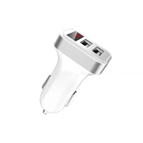 Chargeur allume cigare double USB 5V - Blanc & argent