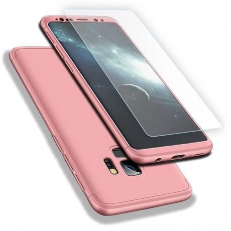 Coque intégrale 360° avec vitre protectrice pour Samsung Galaxy S9 - Rose or
