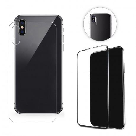 Vitre protectrice intégrale 3 en 1 en verre trempé pour iPhone X/XS
