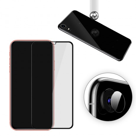 Vitre protectrice intégrale 3 en 1 en verre trempé pour iPhone XR