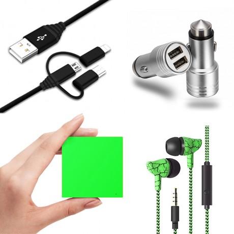 Pack universel essentiel : Power Bank 2600 mAh/ écouteurs filaires marbre/ chargeur allume cigare 1A/ câble USB coudé - VERT