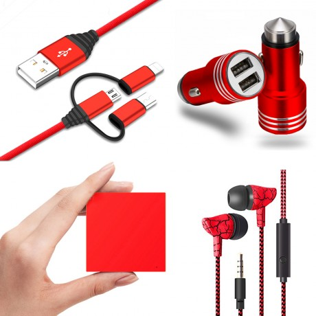 Pack universel essentiel : Power Bank 2600 mAh/ écouteurs filaires marbre/ chargeur allume cigare 1A/ câble USB coudé - ROUGE