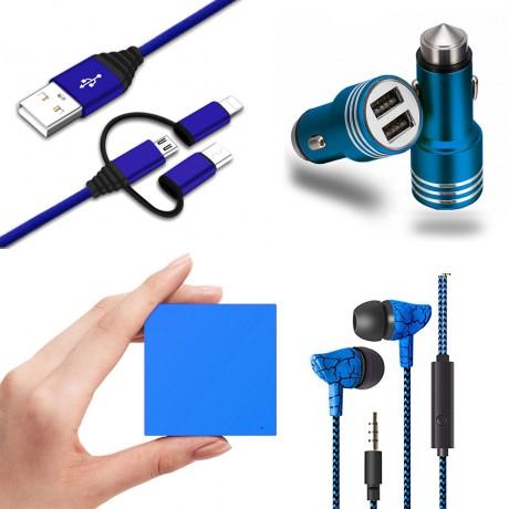 Pack universel essentiel : Power Bank 2600 mAh/ écouteurs filaires marbre/ chargeur allume cigare 1A/ câble USB coudé - BLEU