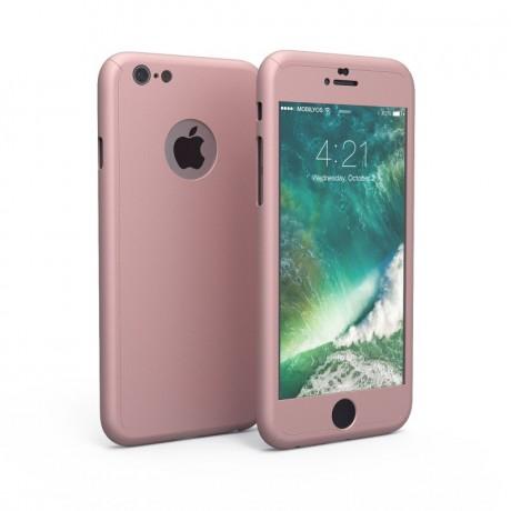 Coque intégrale 360° avec vitre protectrice pour iPhone 6/6S - Rose or