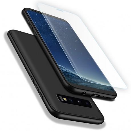 Coque intégrale 360° avec vitre protectrice pour Samsung Galaxy S10 Plus - Noir