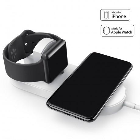 Mini chargeur à induction QI sans fil rapide 2 en 1 pour iWatch et Smartphone