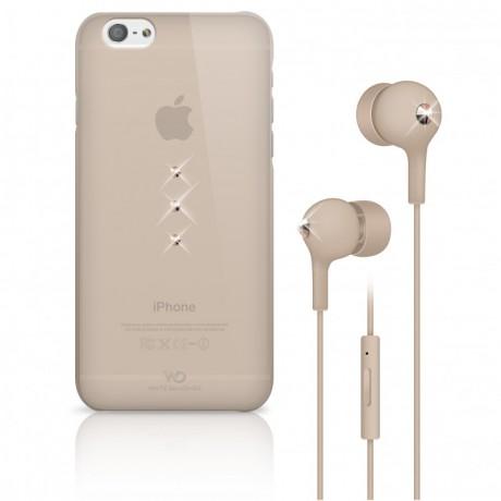 Coque + écouteurs filaires WHITE DIAMONDS pour iPhone 6/6S - Nude