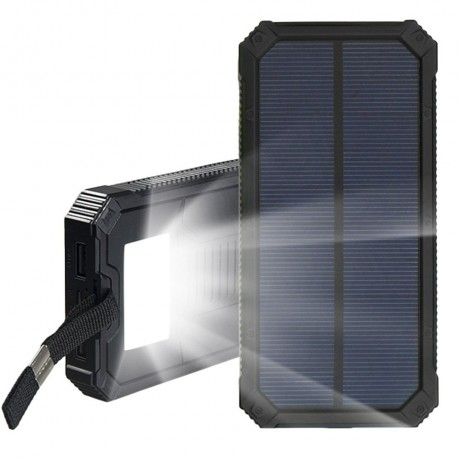 Power Bank solaire double USB 20000mah waterproof avec lampe torche - Noir