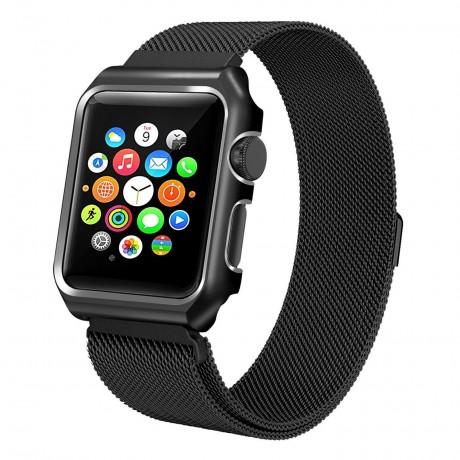 Bracelet milanais intégral pour Apple Watch 38 mm - Noir