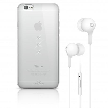 Coque + écouteurs filaires WHITE DIAMONDS pour iPhone 6/6S - Blanc