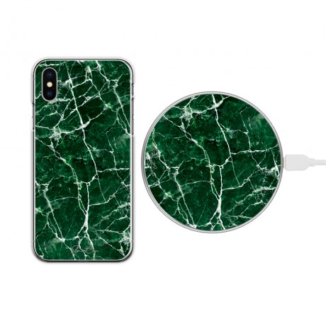 Pack chargeur à induction sans fil + Coque transparente pour iPhone X/ XS - Marbre vert
