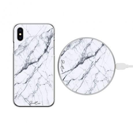 Pack chargeur à induction sans fil + Coque transparente pour iPhone X/ XS - Marbre blanc