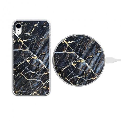 Pack chargeur à induction sans fil + Coque transparente pour iPhone XR - Marbre bleu
