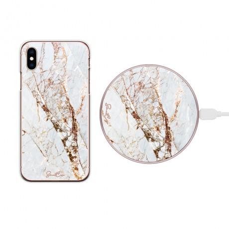 Pack chargeur à induction sans fil + Coque transparente pour iPhone XS MAX - Marbre or