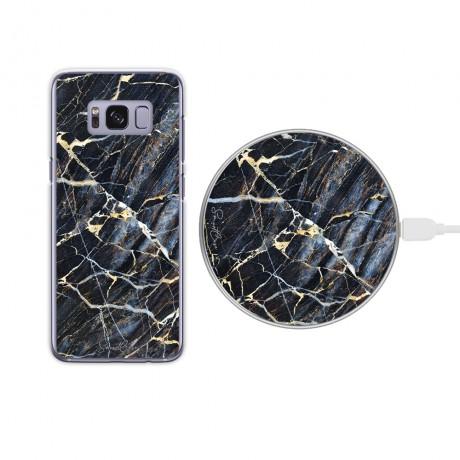 Pack chargeur à induction sans fil + Coque transparente pour Samsung Galaxy S8 - Marbre bleu