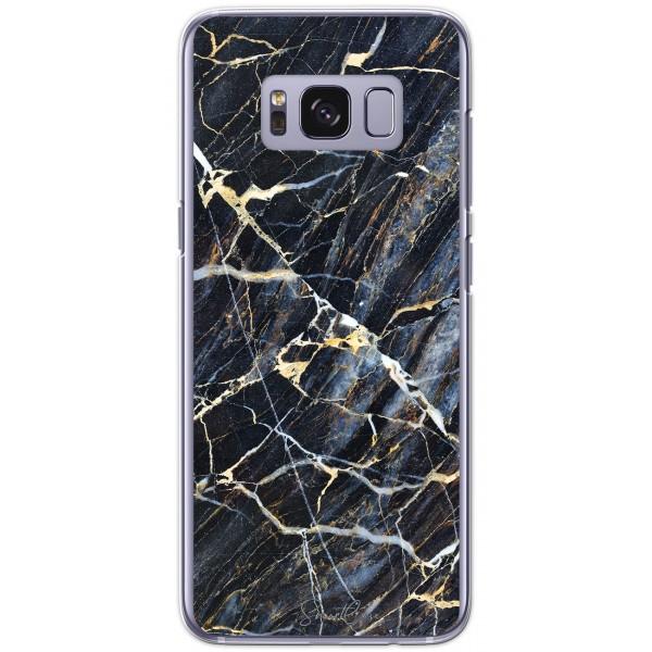 Pack chargeur à induction sans fil Coque transparente pour Samsung Galaxy S8 - Marbre bleu