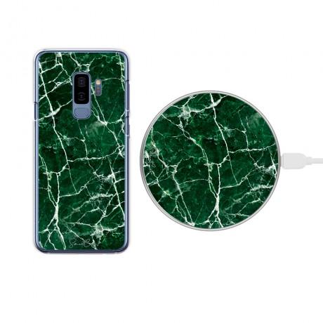 Pack chargeur à induction sans fil + Coque transparente pour Samsung Galaxy S9 - Marbre vert