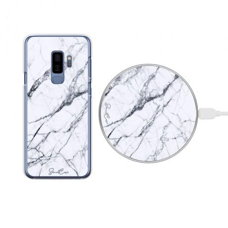 Pack chargeur à induction sans fil + Coque transparente pour Samsung Galaxy S9 - Marbre blanc