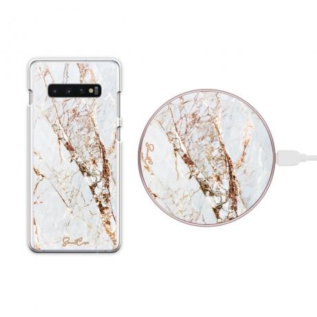 Pack chargeur à induction sans fil + Coque transparente pour Samsung Galaxy S10 - Marbre or