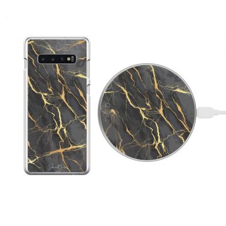 Pack chargeur à induction sans fil + Coque transparente pour Samsung Galaxy S10 - Marbre gris