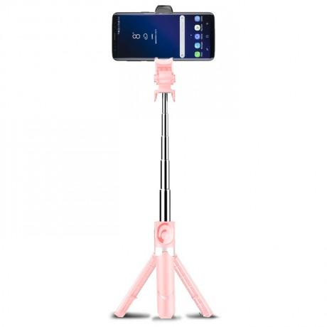 Perche à selfie Bluetooth rétractable avec trépied intégré - Rose