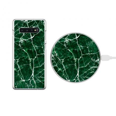 Pack chargeur à induction sans fil + Coque transparente pour Samsung Galaxy S10 Plus - Marbre vert