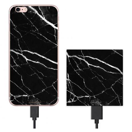 Pack Power Bank 2600 mAh + Coque transparente pour iPhone 6/6S - Marbre noir