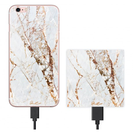 Pack Power Bank 2600 mAh + Coque transparente pour iPhone 6/6S - Marbre or