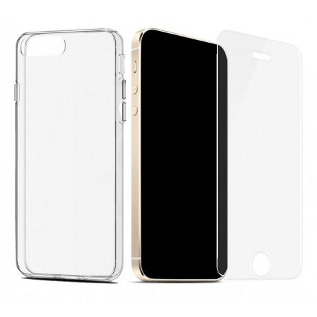 Coque Transparente Souple Vitre En Verre Trempe Pour Iphone 5 5s Se