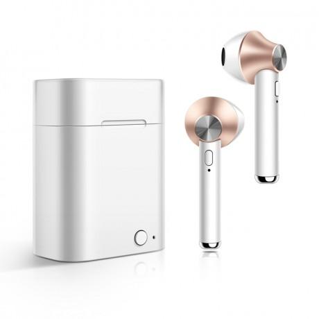 Ecouteurs stéréo Bluetooth 5.0 sans fil avec appels binaual avec boîtier de chargement - Rose or