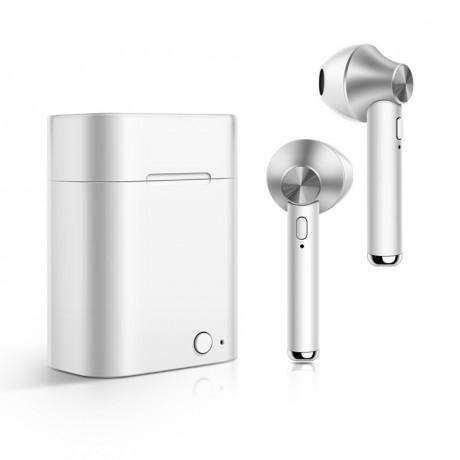 Ecouteurs stéréo Bluetooth 5.0 sans fil avec appels binaual avec boîtier de chargement - Argent
