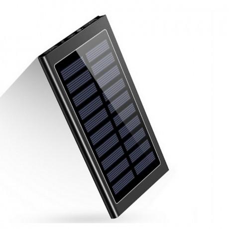Batterie de secours solaire métal 20 000 mAh - Noir