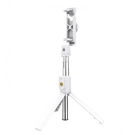 Mini perche à selfie Bluetooth rotative 270° avec trépied intégré - Blanc