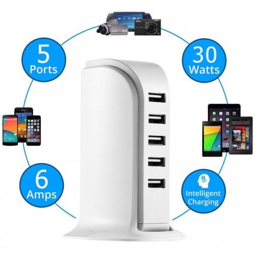 Chargeur 5 entrées USB 5A...